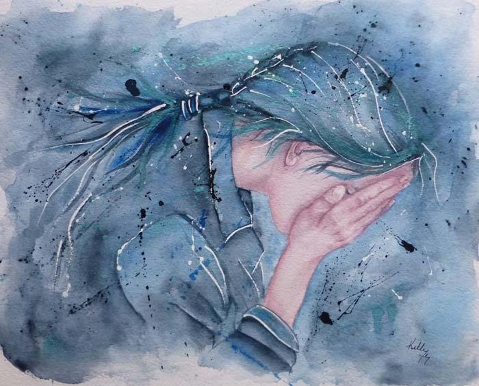 hidden face emotional sad girl painting