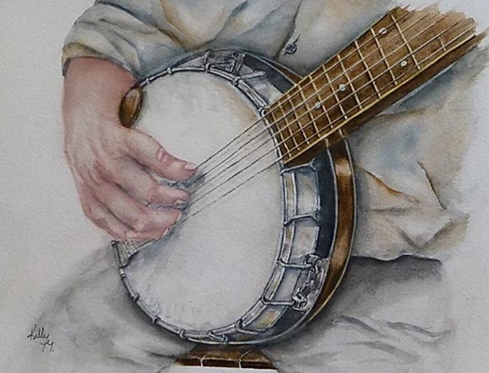 old guitar painting with watercolor