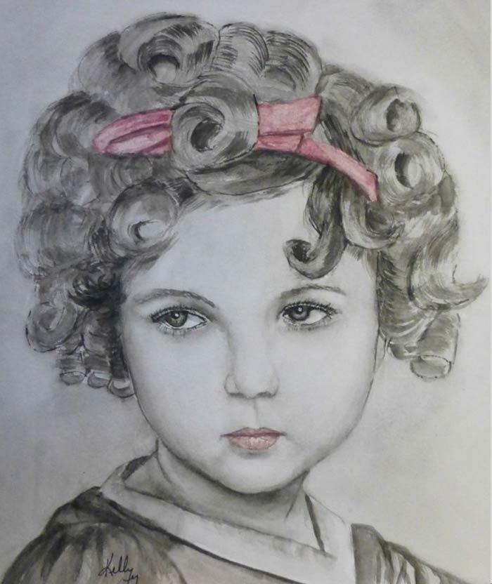 little girl portrait watercolor painting
