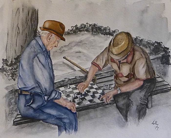 game of chess painting