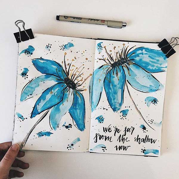Watercolor floral paintings by Laia