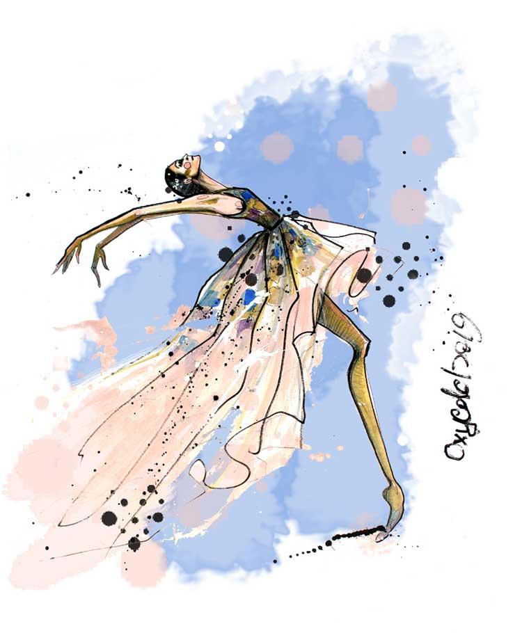 Fashion Illustration Acrylic Paintings by Oksana