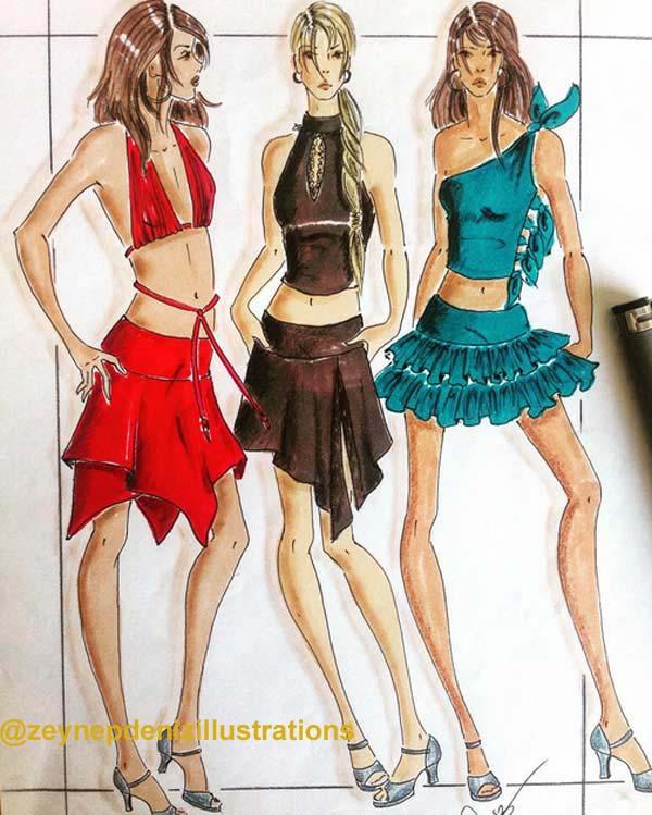 Fashion Illustration Sketches by Zeynep Deniz