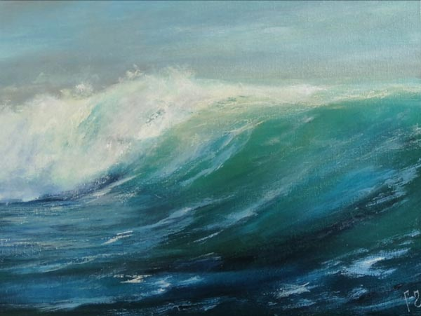 Seascape Sea Realistic Ocean Oil Painting on Canvas by Alesia Habovych