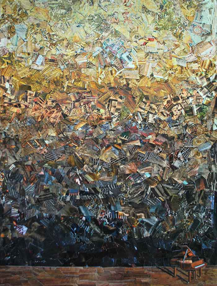 Oil Painting Thousands of Tiny Pieces of Paper to Create Art
