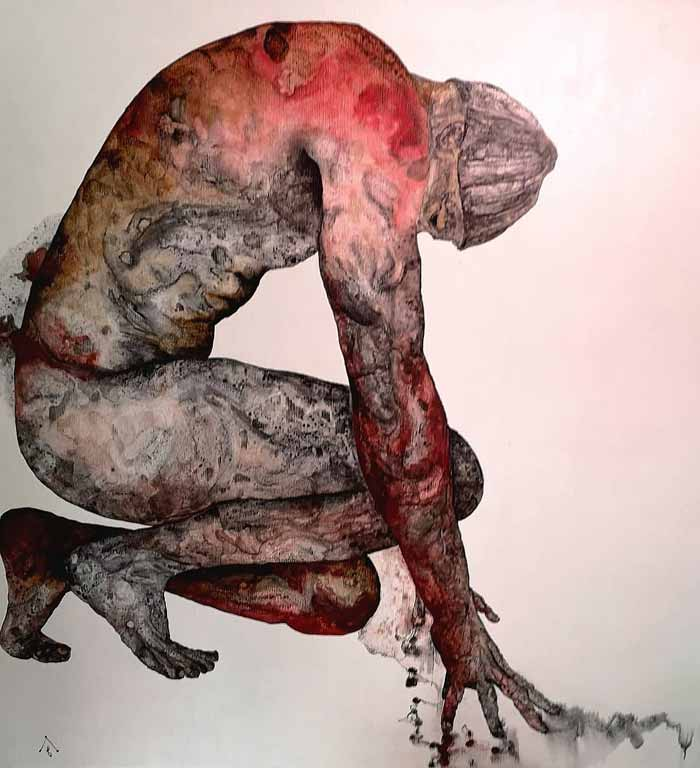 human soul painting, soul painting, contemporary art painting, human figure painting by David Deweerdt