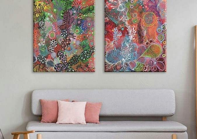Decorative art - Abstract Acrylic Paintings on Canvas Florals