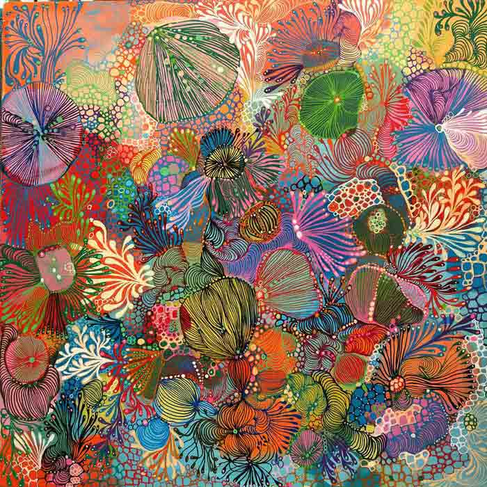 Abstract Decorative Art Acrylic Painting on Canvas Florals
