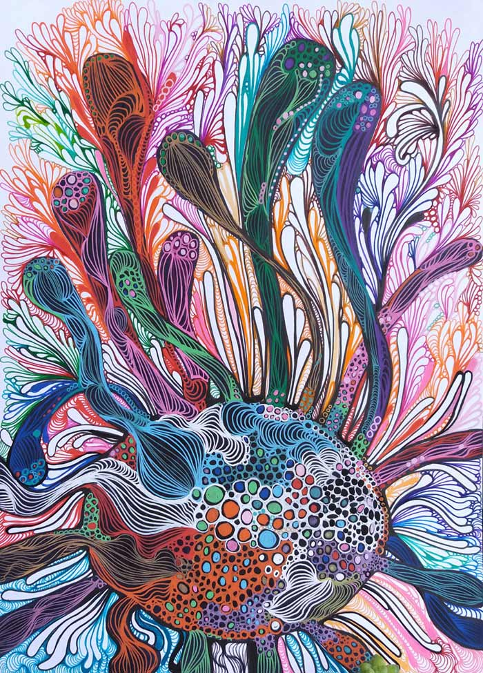 Abstract Decorative Art Acrylic Painting on Canvas bubbles
