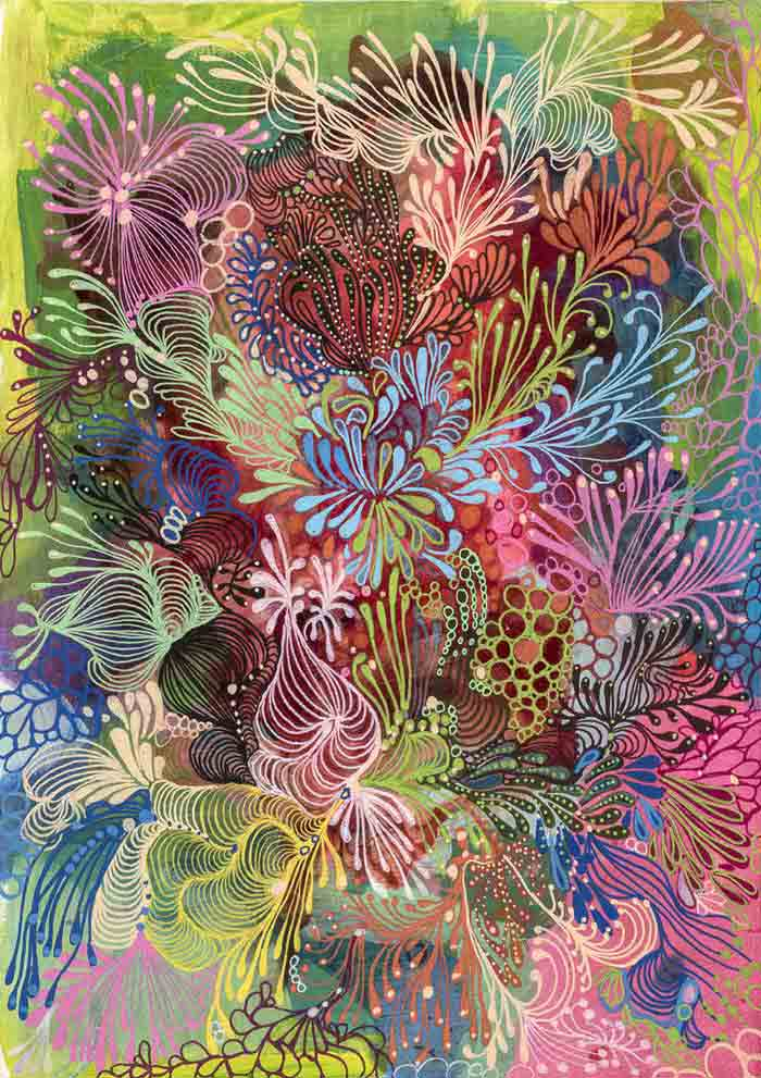 Abstract Decorative Art Acrylic Painting on Canvas floral