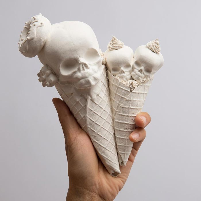 Ice Creams - Porcelain Sculptures of Hand-built