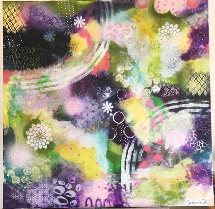 Nature Inspired Floral Mixed Media Paintings