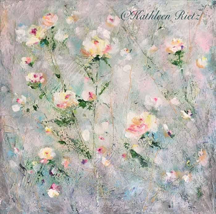 Original Abstract Floral Oil Paintings by Kathleen Rietz