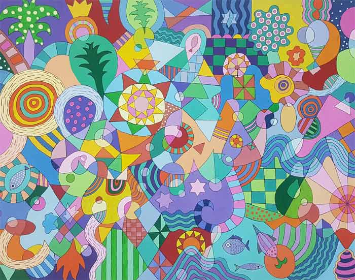 Doodle Art - Acrylic Paintings on Canvas by John Wade