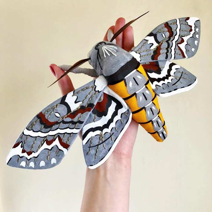 Fabric Sculpture of Moths by Molly Burgess