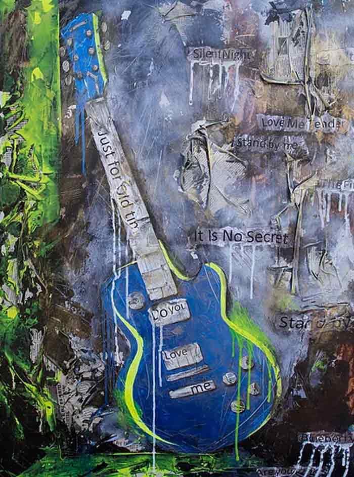 Blue Guitar pop art paintings
