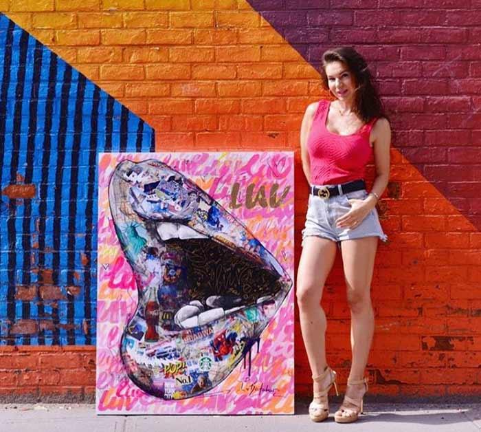 Patriotic Lips pop art love Paintings