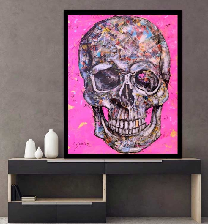 Skull Candy Pop Art Mixed Media Collage Paintings