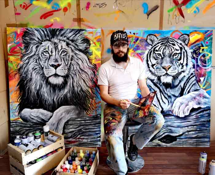 Wild Animals Oil Paintings on Canvas by Yehiel Attias