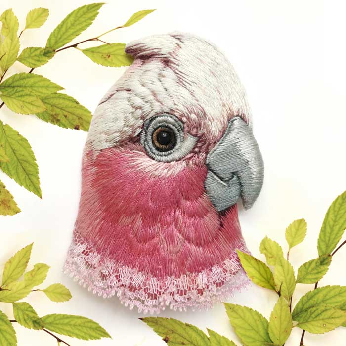 Hand Embroidered Bird Brooches by Paulina
