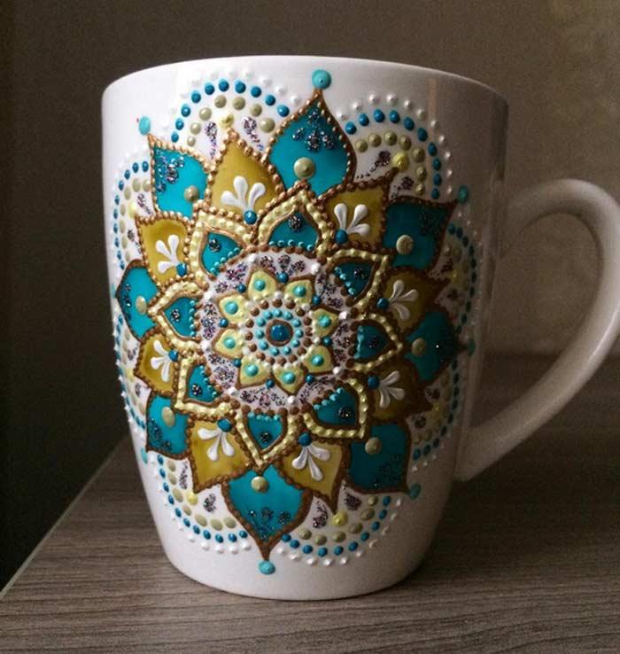 Anastasia Decorated Ceramic With Beautiful Acrylic Paint Dots Mandala Design