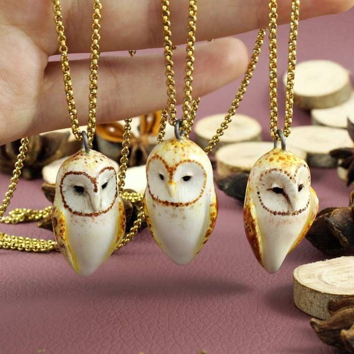 Elder Barn Owls, Necklaces, Ceramic