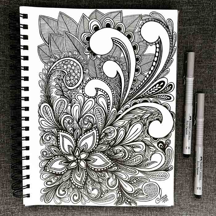 Hand-Drawn Black Ink Flower Illustrations by Zentangle Art