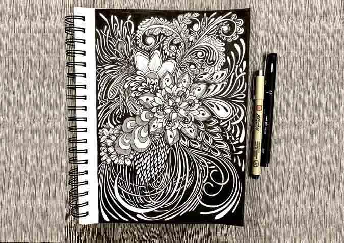 Black and White Flower Design Hand-Drawn Illustrations