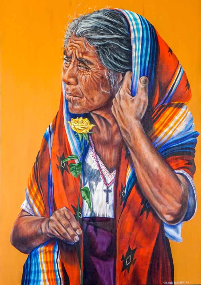 The yellow rose and old woman portrait by Sierra Roberts