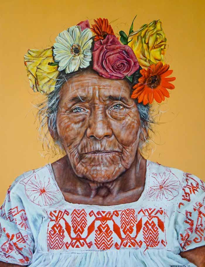 Juana w Flowers in her hair painting by artist Sierra Roberts