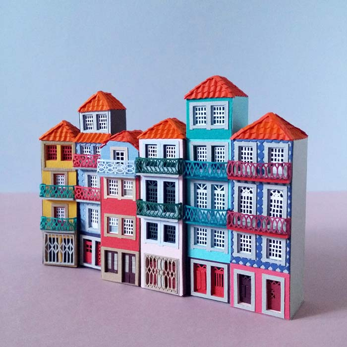 Iinspired by colorful cityscape of Porto, Portugal.