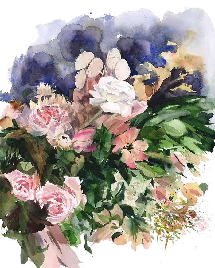 Blush watercolor painting flowers