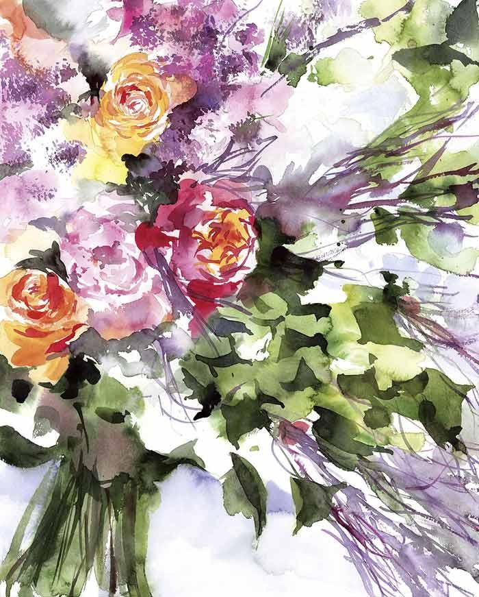 Di Spello Flower Watercolor Painting