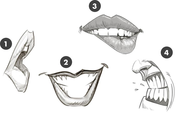 how to draw mouth