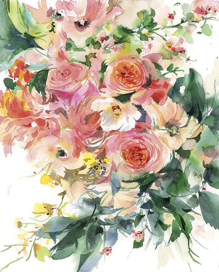 Sussurro Flower Watercolor Painting