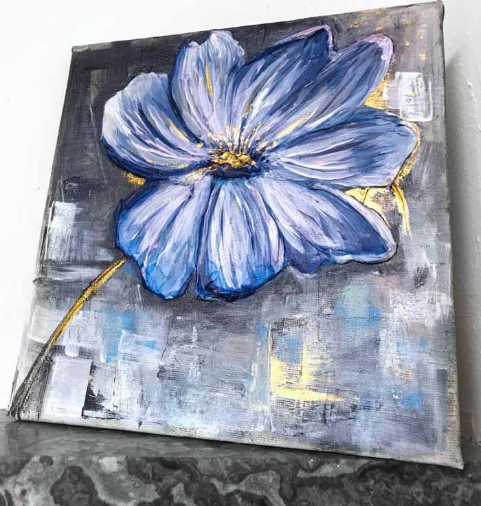 Self taught artist flower painting