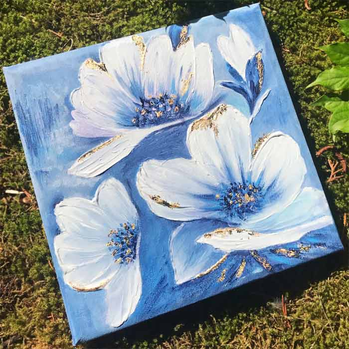 self taught flower painting on canvas