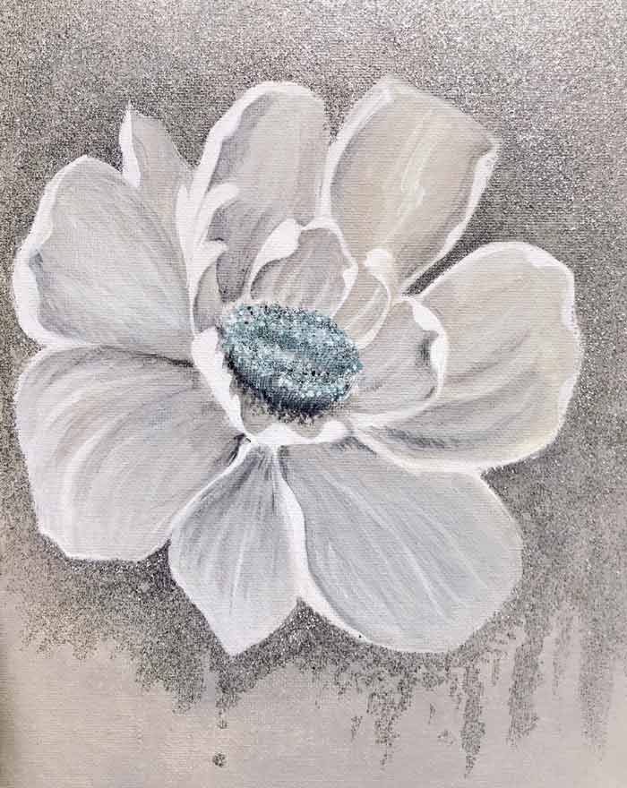 self taught flower painting