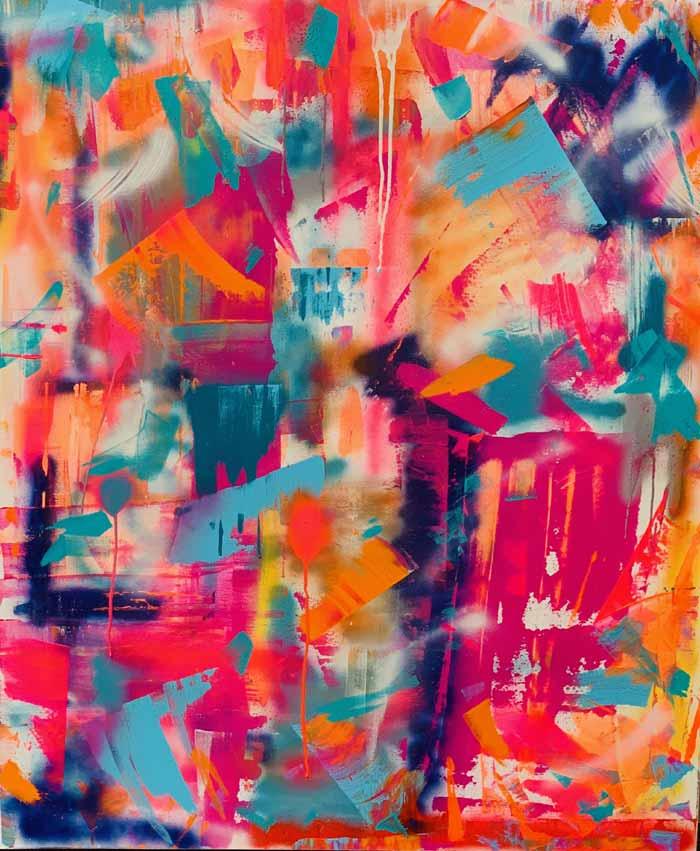 Tequila Sunrise - Acrylic and Spray Paint on Canvas