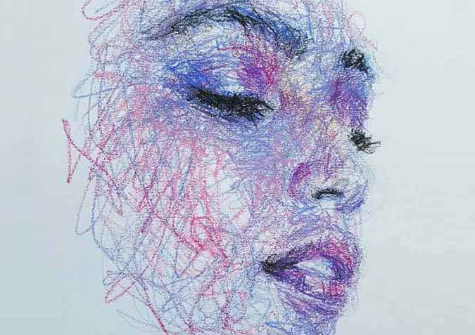 The Artist Draws Amazing Portraits Entirely By Scribbling