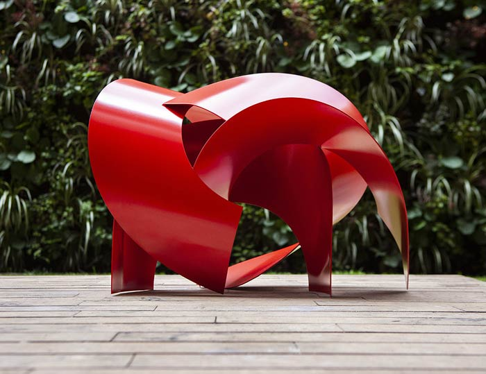 Veronica Matiz Creates Basic Geometrical Shapes Sculptures By Using Steel Sheets