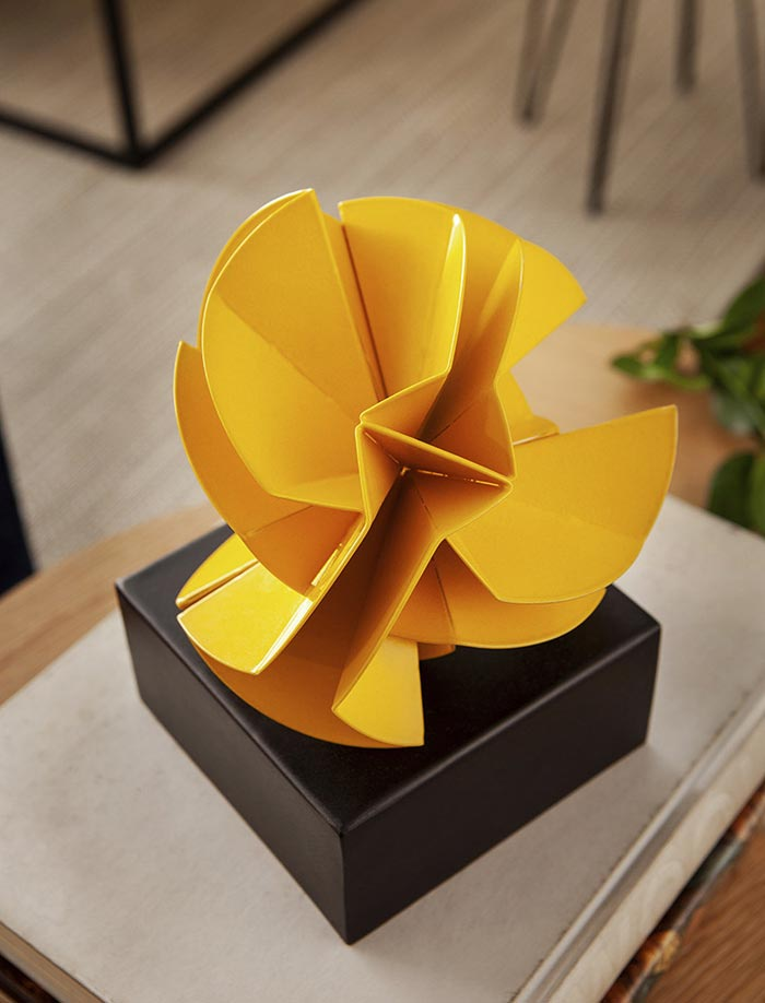 The Basic Geometrical Shapes Sculptures By Using Steel Sheets