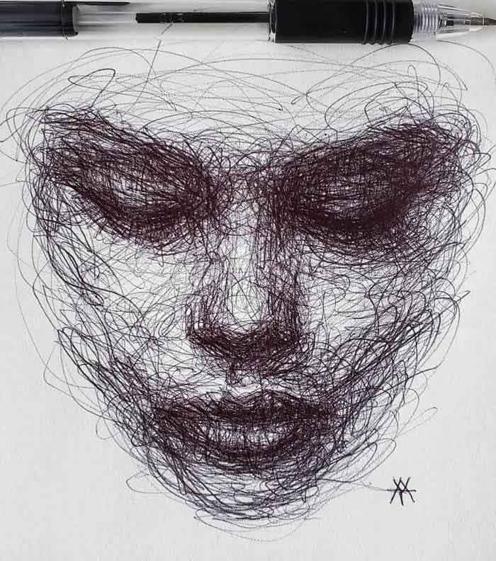 The Artist Draws Portraits Entirely Through Scribbling