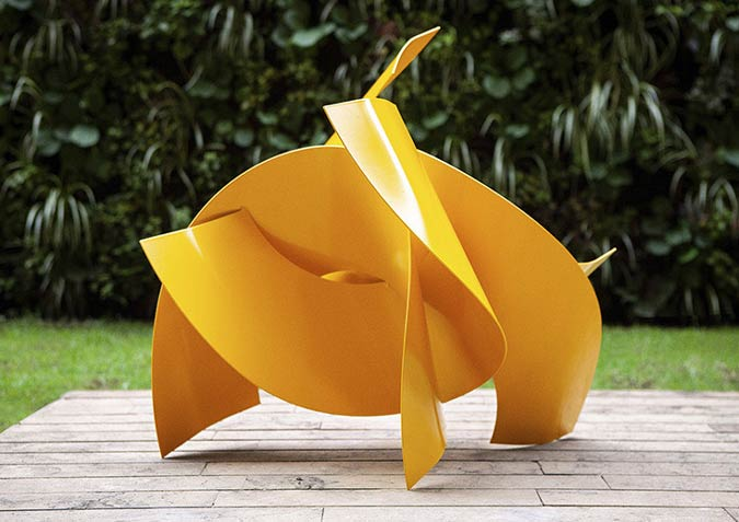 Artist Veronica Matiz Creates Basic Geometrical Shapes Sculptures By Using Steel Sheets