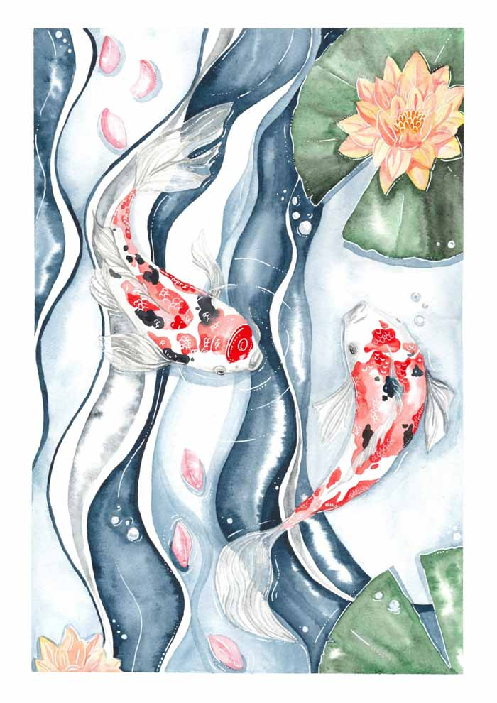 The Koi Dance watercolor and ink painting on paper