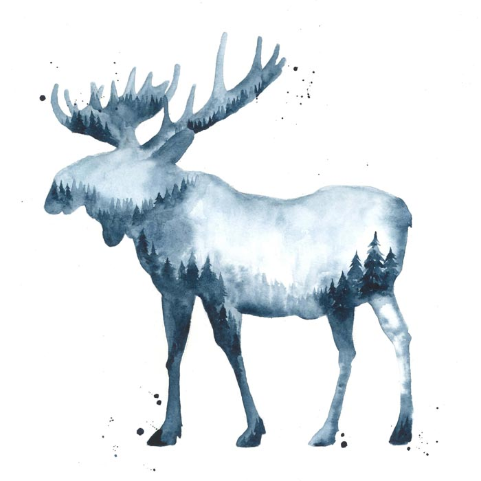 The Winter Moose watercolor and ink painting on paper