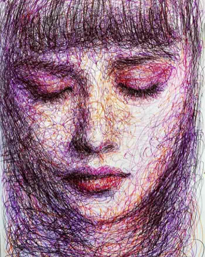 Scribble portrait drawing