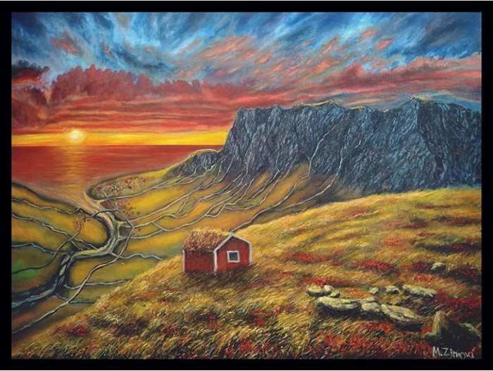 sunset watercolor landscape painting