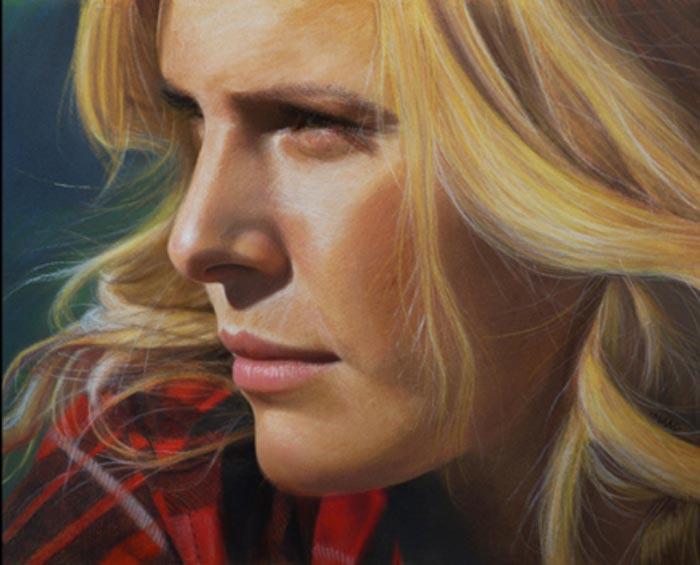 Determination Realistic Portrait Pastel on Paper