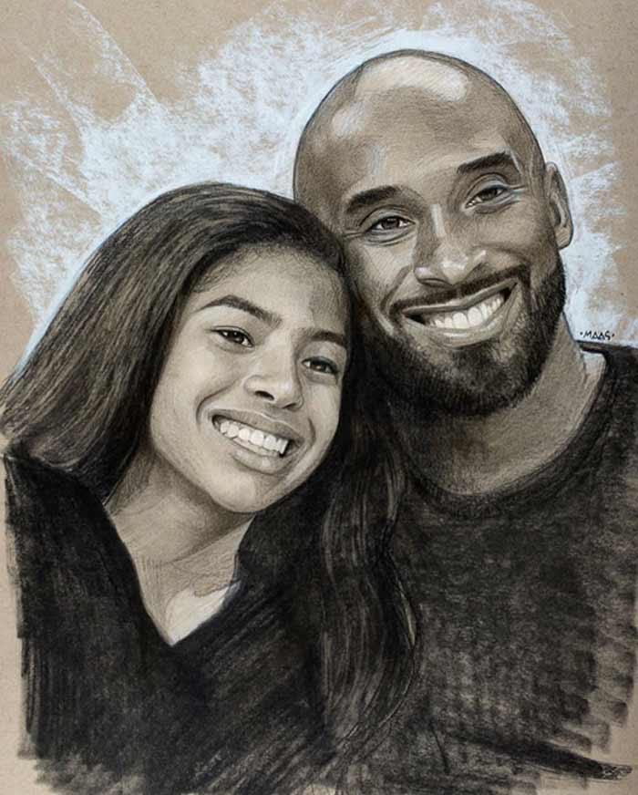 Portrait of Kobe and Gianna